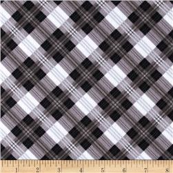 Great Scotts Flannel Mad for Plaid Black/Grey Fabric