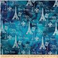 Indian Batik Metallic Eiffel Tower Silver/Blue/Purple