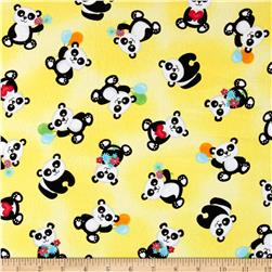 Henry Glass & Co. Panda-monium Flannel Tossed Pandas Yellow