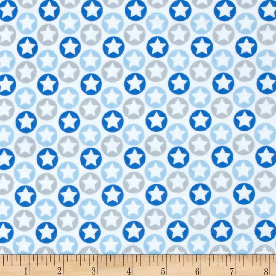 Alpine Flannel American Plane Stars Blue Fabric By The Yard