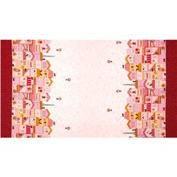 Seven Islands Houses with Cats Border Print Pink