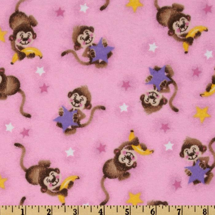 Comfy Flannel Monkey Star Pink