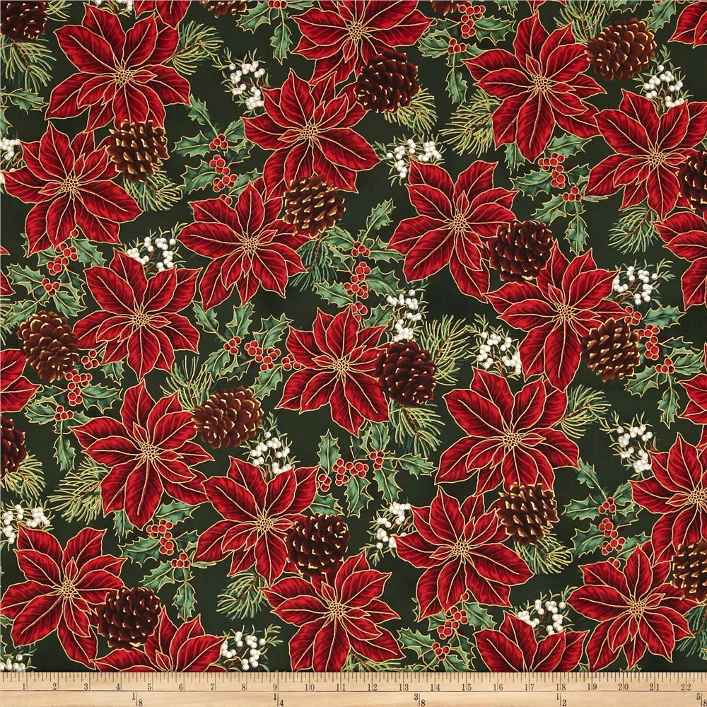 Warm Wishes Metallic Poinsettia Holly, Pinecones Hunter/Gold