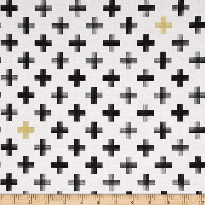 Riley Blake Four Corners Gold Sparkle Weave White