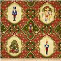 Nutcracker Christmas Metallic Medallion Patch Cream