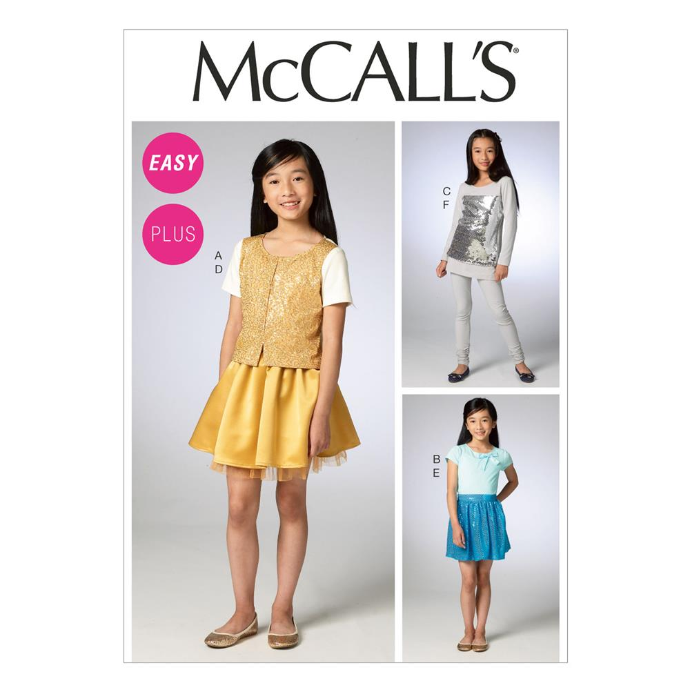 McCall's Girls/Girls' Plus Cardigan, Tops, Skirts and Leggings