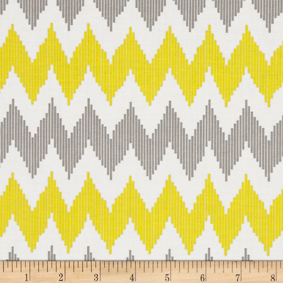 Design Studio Pinstripe Chevron Yellow Fabric