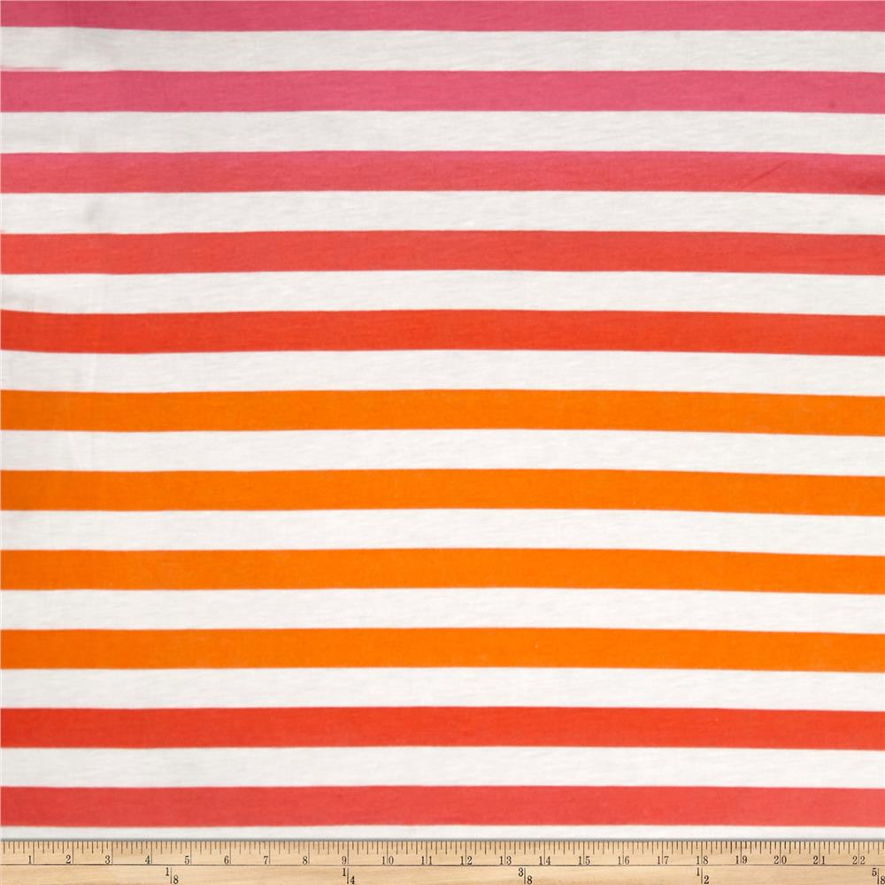 Ombre Jersey Knit Stripe Orange/Pink Fabric By The Yard