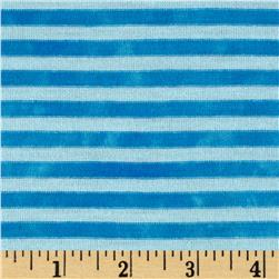 Jersey Knit Small Stripe Optic White/Turquoise Fabric