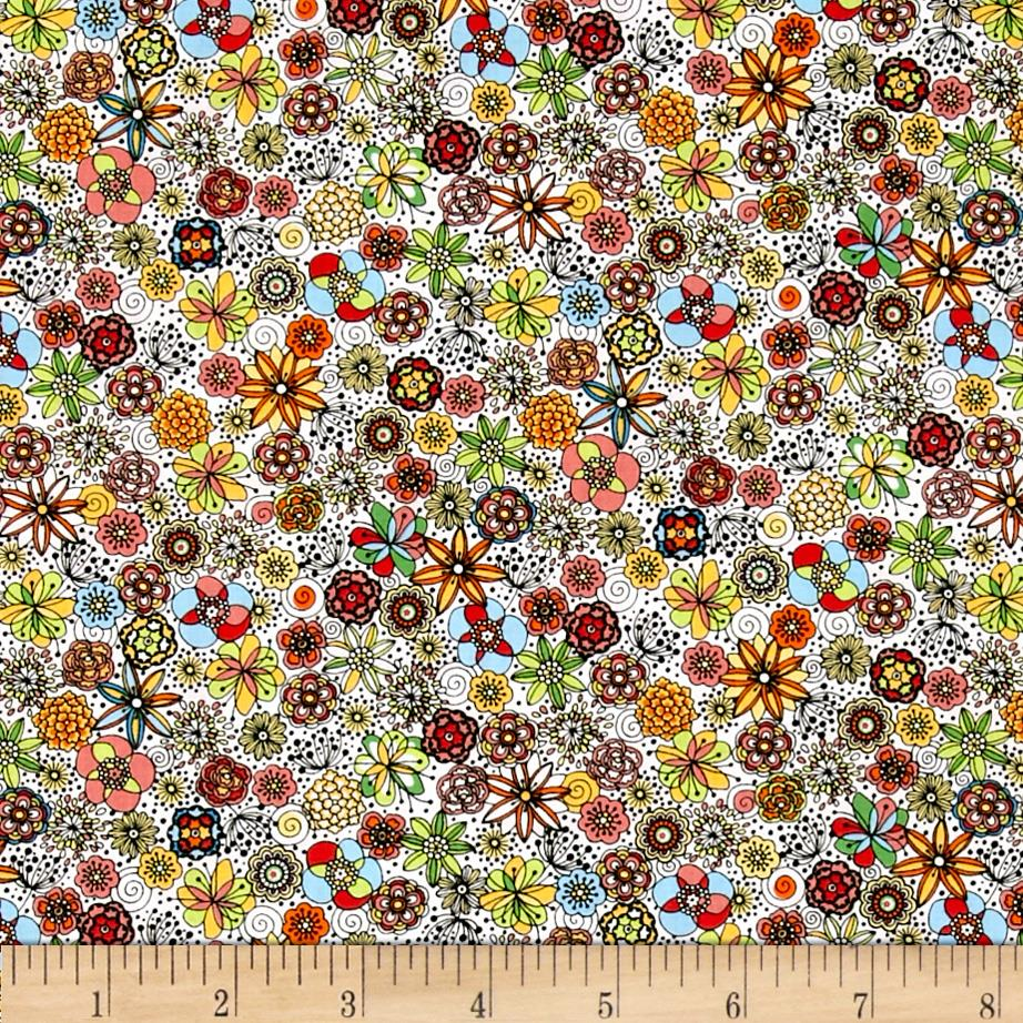 Kaufman London Calling Lawn Sketch Floral Multi