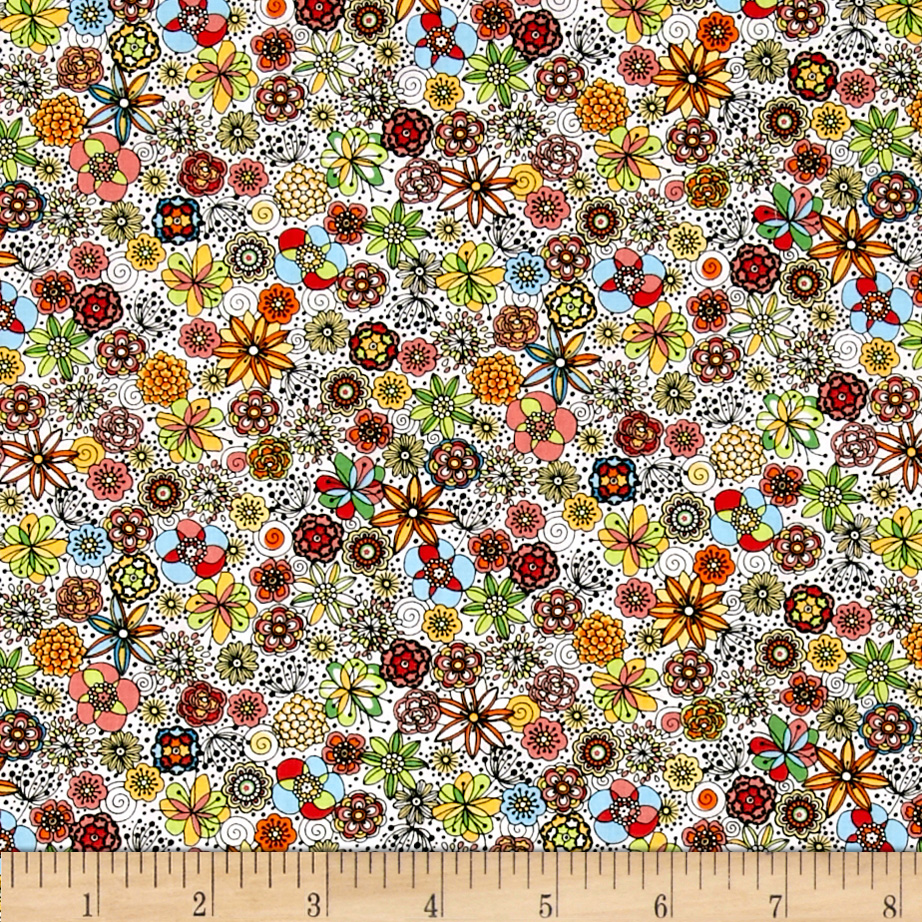 Kaufman London Calling Lawn Sketch Floral Multi Fabric