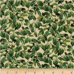 Winter Birds Packed Holly Leaves Beige