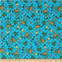 Flannel Giraffe Blue
