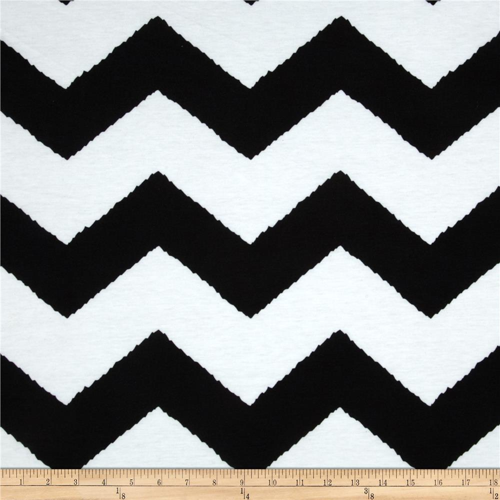Fashionista Jersey Knit Large Chevron Black/White