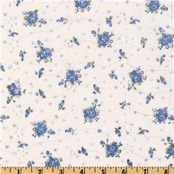 Floral Eyelet Blue Fabric