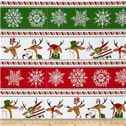 Where's Rudolph Reindeer Stripe Red/Green Fabric