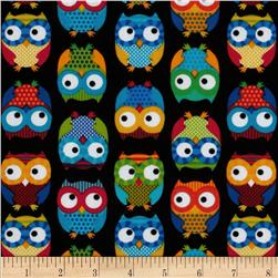 Timeless Treasures Owls Black Fabric