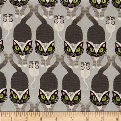 Timeless Treasures Cat & Mouse Stripe Grey