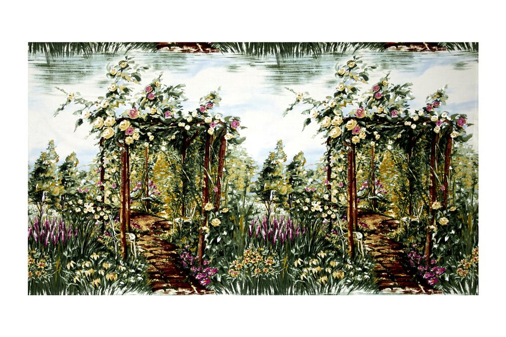 Michael Miller Landscapes Floral Rose 36'' Arbor Green Fabric