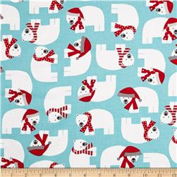 Robert Kaufman Jingle Polar Bears Aqua