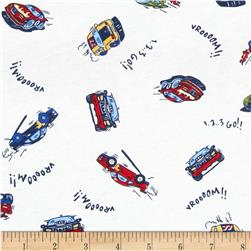 Cotton Jersey Knit Cars White/Multi Fabric