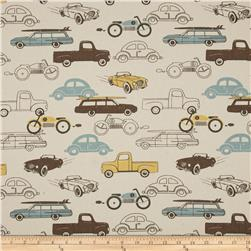 Premier Prints Retro Rides Natural/Cambridge Fabric