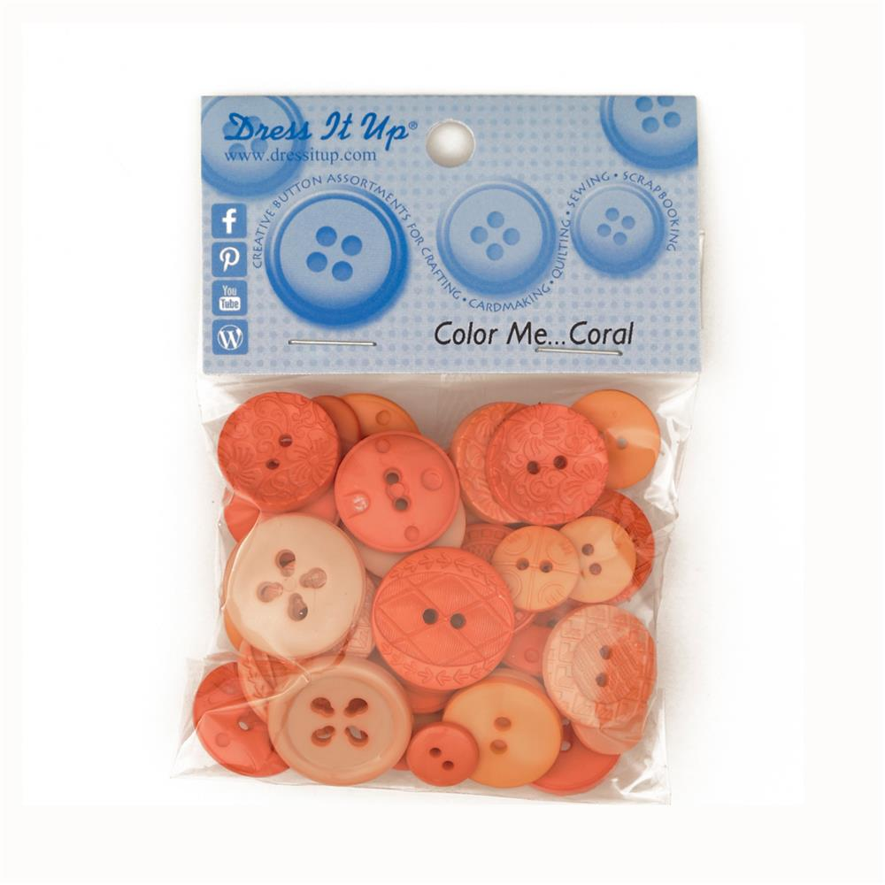 Dress It Up Color Me Collection Buttons Coral