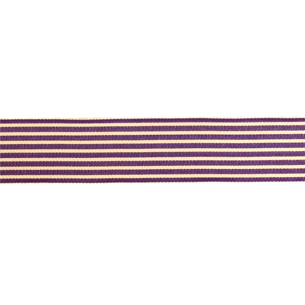 "May Arts 1 1/2""  Grosgrain Stripes Ribbon Spool Purple/Ivory"