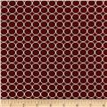 Double Brushed Poly Jersey Knit Small Circles Wine