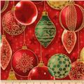 Kaufman Winter Grandeur Metallic Ornaments Red