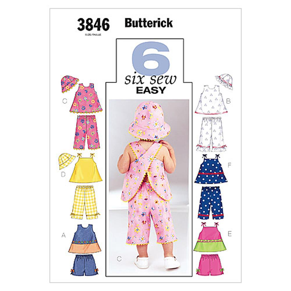 Butterick Infants' Top, Shorts, Pants and Hat Pattern B3846 Size LRG