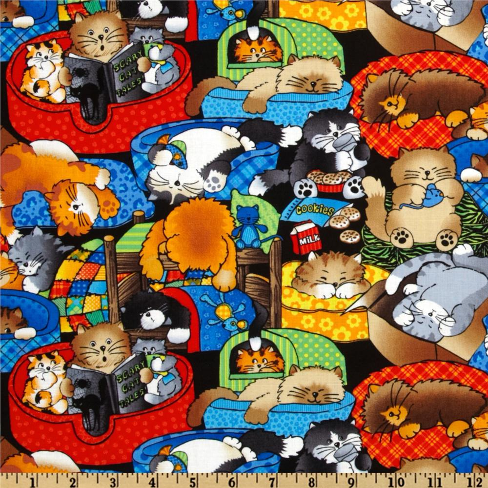 Timeless Treasures Lazy Cats Multi