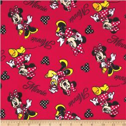 Minnie Mouse Flannel Minnie Loves Shopping Red
