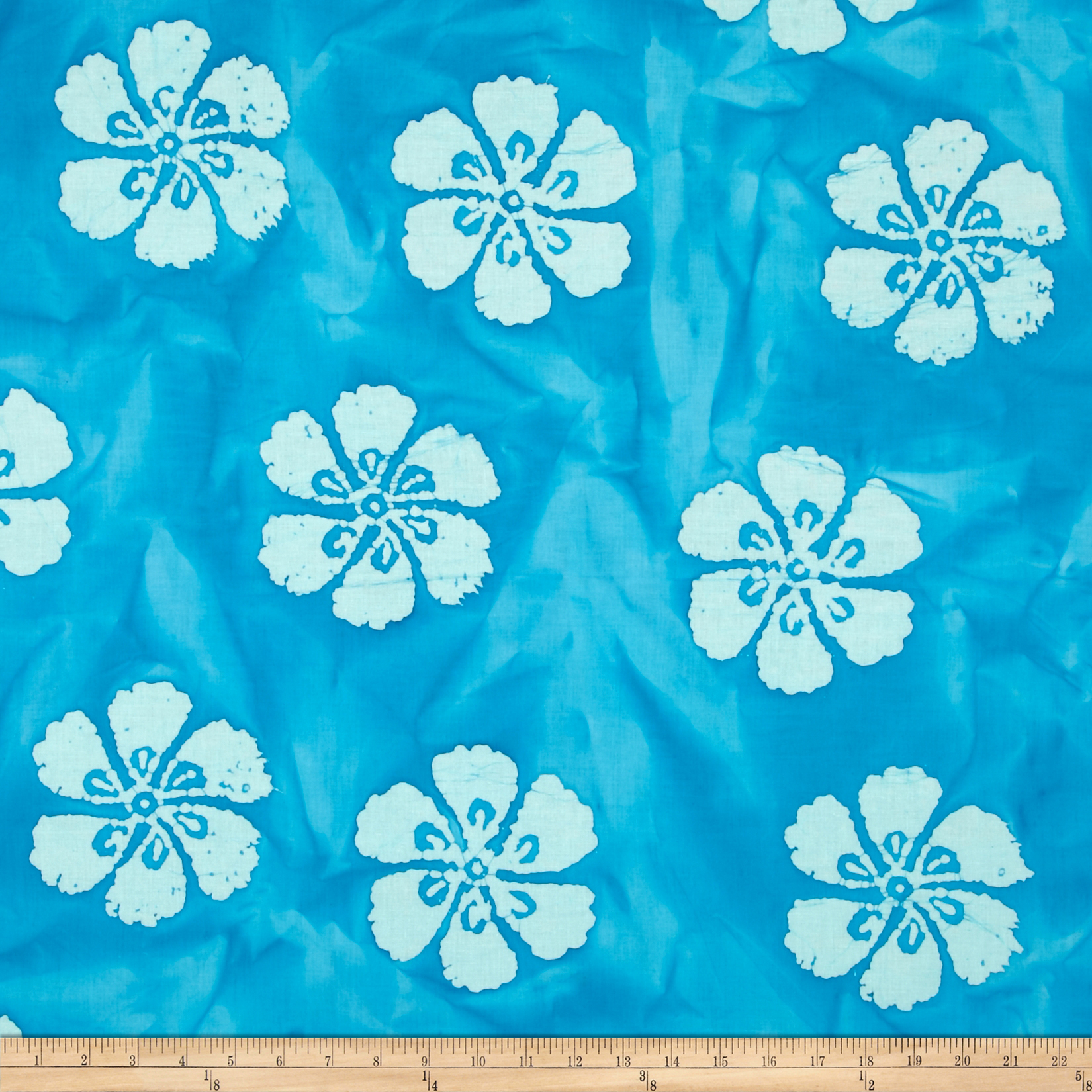 Indian Batik Hibiscus Aqua Fabric