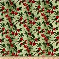 Merry, Berry & Bright Metallic Boughs Of Holly Radiant Sage