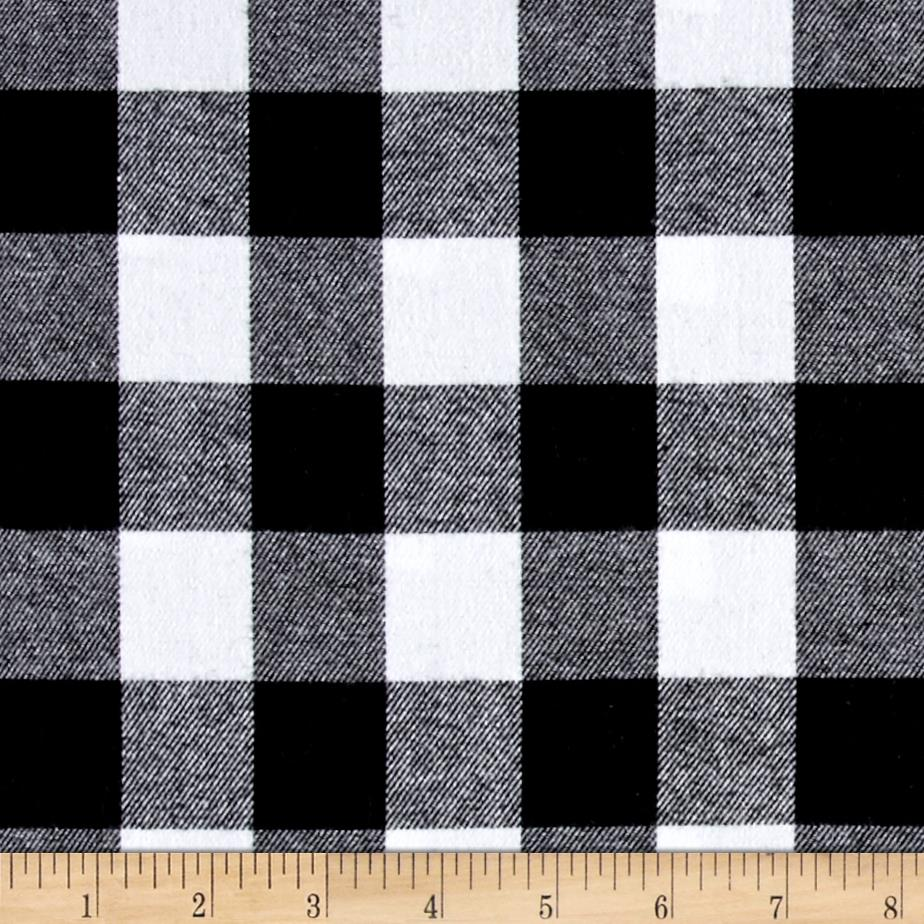 Yarn Dyed Flannel Check Black White Fabric By The Yard