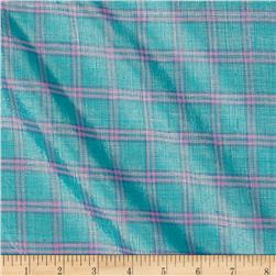 Metallic Shot Cotton Plaid Aqua/Pink