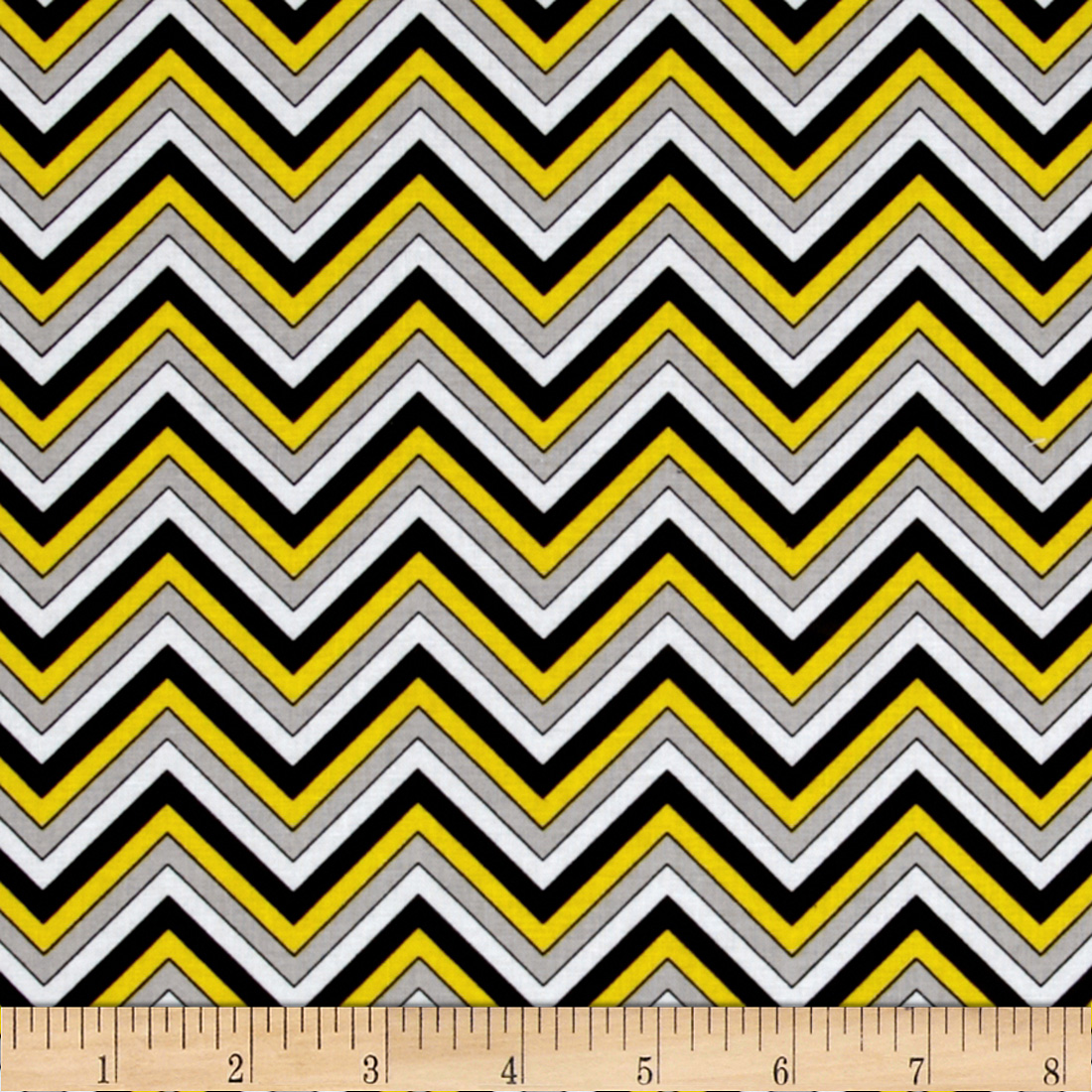 Ink Blossom Chevron Yellow Fabric
