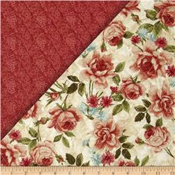 Bella Double Sided Quilted Roses Natural/Green Fabric