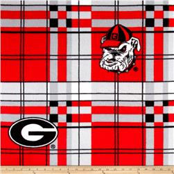 University of Georgia Fleece Plaid Red Fabric