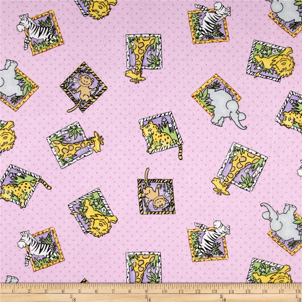 Comfy Flannel Jungle Squares Pink