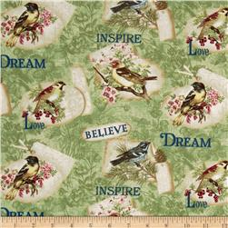 Birds of a Feather Inspiration Green Fabric