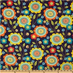 Michael Miller Printed Corduroy Stitch Floral Navy