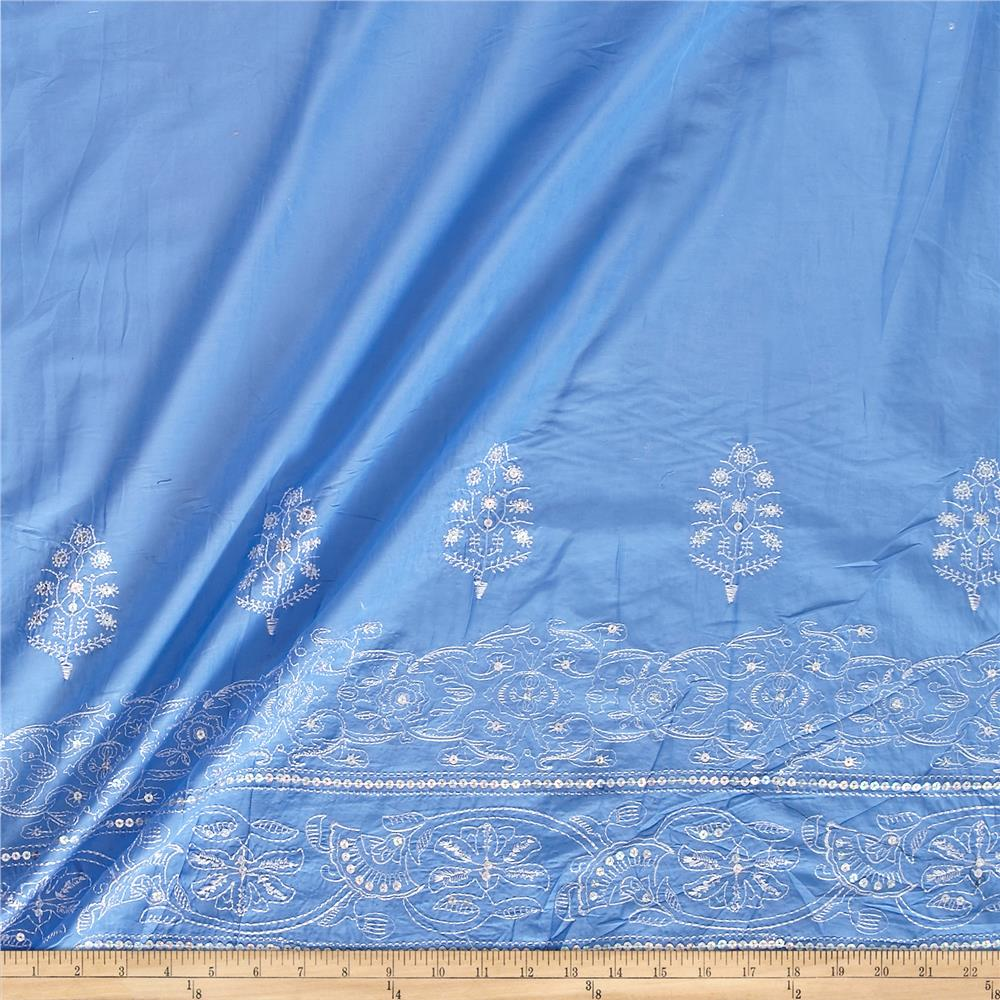 Embroidered Lawn Sequin Cotton Double Border Aztec Periwinkle/White