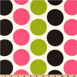 Premier Prints Fancy Dot Candy Pink/Black Fabric