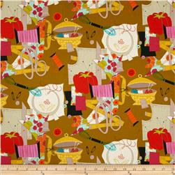 Nicole's Prints Sew Retro Sewing Stuff Gold Fabric