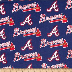MLB Cotton Broadcloth Atlanta Braves Navy/Red Fabric