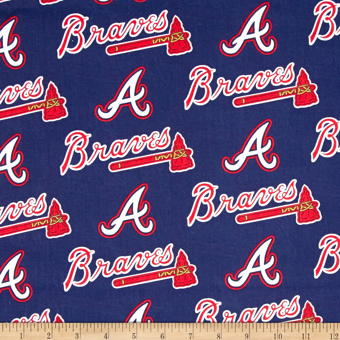 MLB Cotton Broadcloth Atlanta Braves Navy/Red Fabric by Fabric Traditions in USA