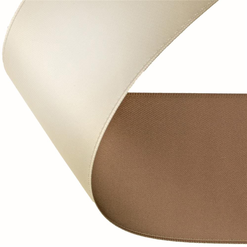 "2"" Satin Reversible Ribbon Brown/Champagne"