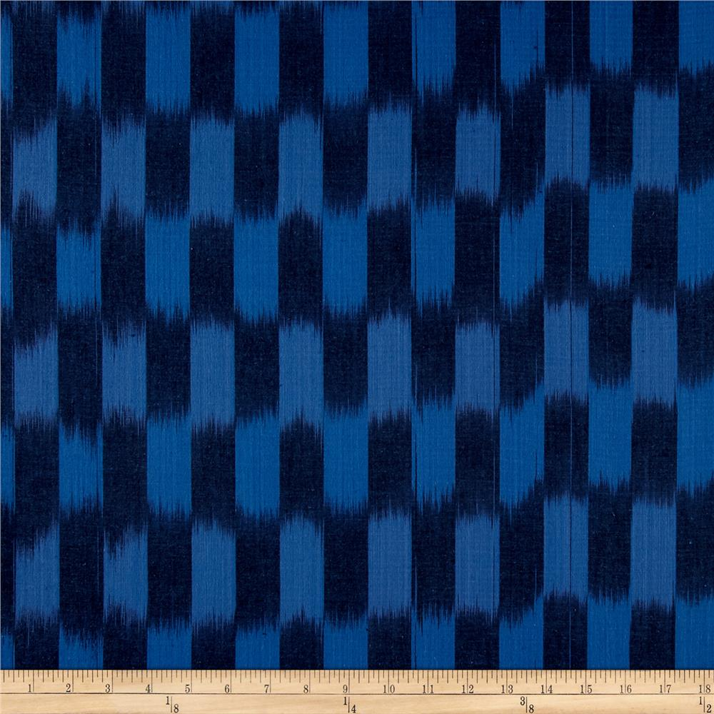 Dream Weaves Woven Ikat Check Wedgewood Fabric